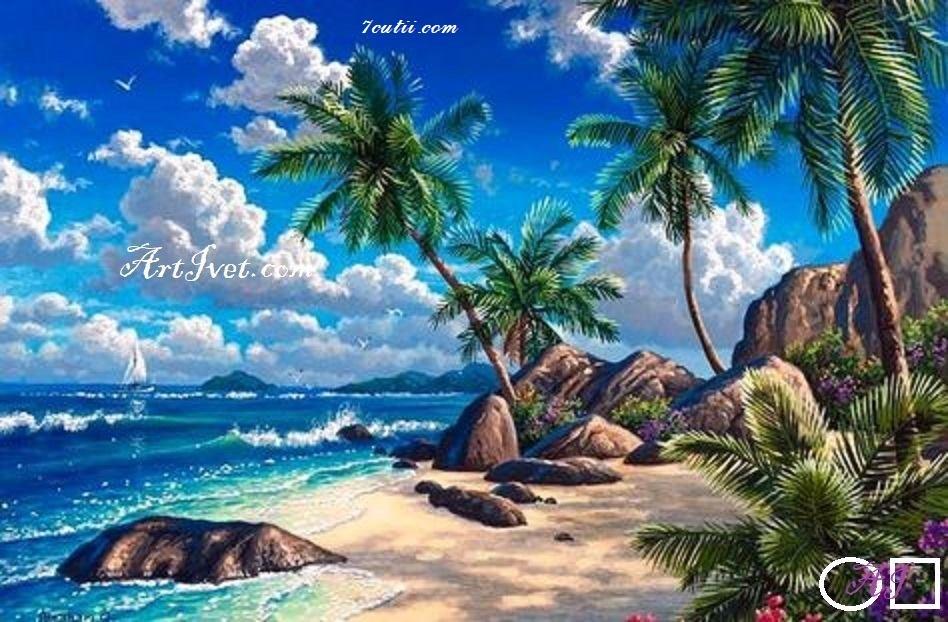 Goblen  de  diamante Sub palmieri langa coasta: Dimensiuni si tip - 45x30 cm Margele Rotunde (Circulare)