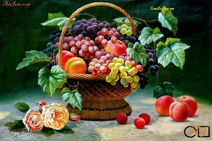 Goblen  de  diamante Culorile tomnii si fructele: Dimensiuni si tip - 50x40 cm Margele Rotunde (Circulare)