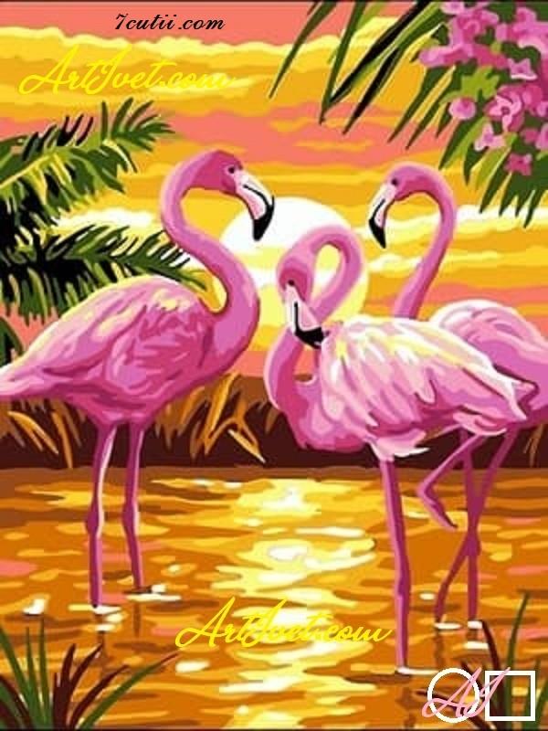 Goblen  de  diamante  Flamingo-urile roz: Dimensiuni si tip - 48x36 cm Margele Patrate