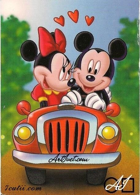 Goblen  de  diamante  Calatoria lui Minnie si Mickey: Dimensiuni si tip - 35x25 cm Margele Rotunde (Circulare)