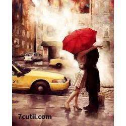 Pictura pe numere - Romantica langa taxiul galben