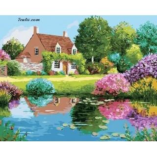 Pictura pe numere -Casa cu tufisul roz