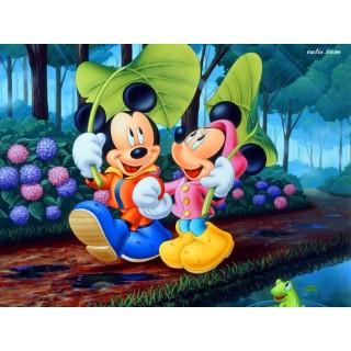 Pictura pe numere -Mickey si Minnie sub frunzele mare