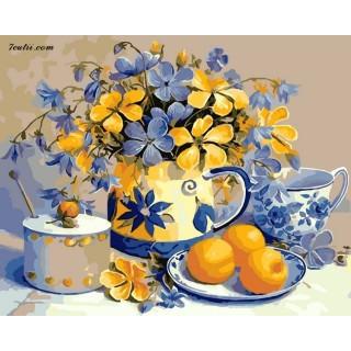 Pictura pe numere -Flori si fructe pe masa
