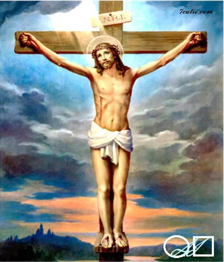 Goblen  de  diamante Isus pe cruce: Dimensiuni si tip - 25x20 cm Margele Rotunde (Circulare)