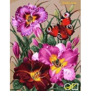 Goblen de diamante Fluture rosu si crini