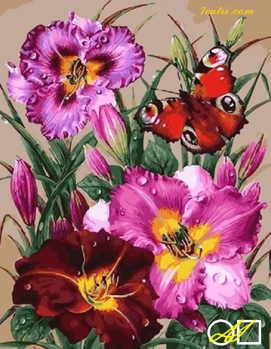 Goblen  de  diamante Fluture rosu si crini: Dimensiuni si tip - 40x30 cm Margele Rotunde (Circulare)