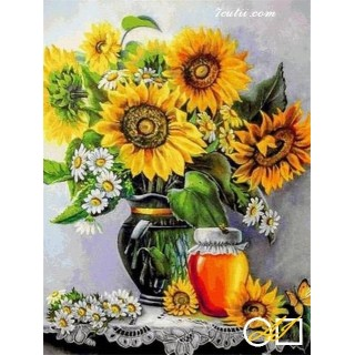 Goblen de diamante - Idilie de primavara - Floarea soarelui si miere