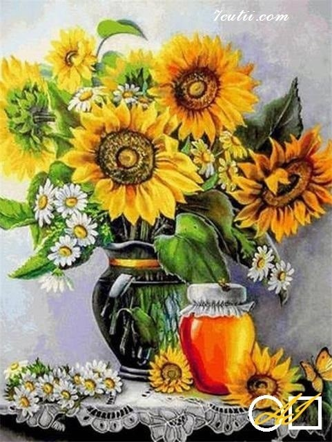 Goblen  de  diamante - Idilie de primavara - Floarea soarelui si miere: Dimensiuni si tip - 40x30 cm Margele Rotunde (Circulare)