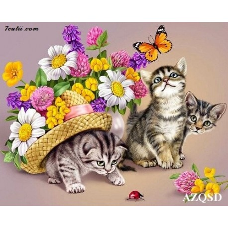 Pictura pe numere -Flori si pisicute