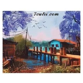 Pictura pe numere - Micul pod din lemn