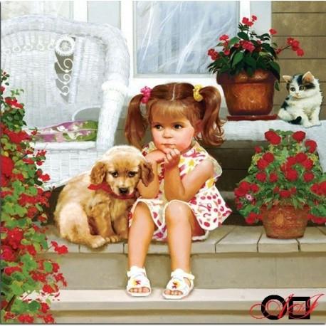 Goblen de diamante - Fata si catelusul pe veranda