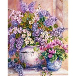 Pictura pe numere - Flori delicate in roz pal si violet clar