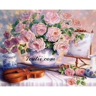 Pictura pe numere - Vioara, ceai si flori