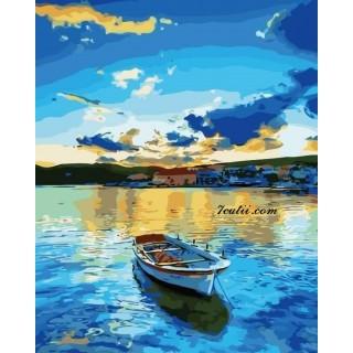 Pictura pe numere - Barca si reflectiile apusului