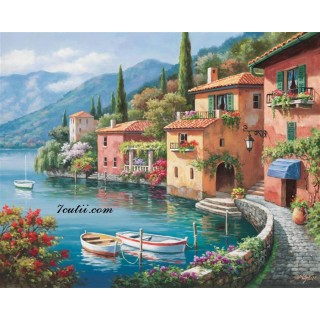 Pictura pe numere - Satucul italian langa lacul