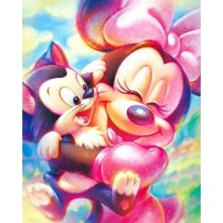Pictura pe numere - Minnie cu pisoiul in brate