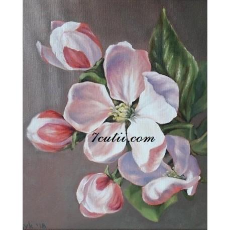 Pictura pe numere - Flori dalbe, flori de mar