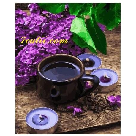 Pictura pe numere - La o cafea langa liliacul parfumat