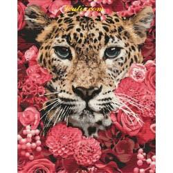 Pictura pe numere - Tigru in tufisul inflorit