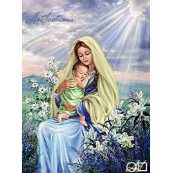 Goblen de diamante Bebelusul Isus in bratele fecioarei