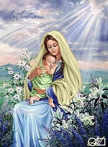 Goblen  de  diamante Bebelusul Isus in bratele fecioarei: Dimensiuni si tip - 48x36 cm Margele Patrate
