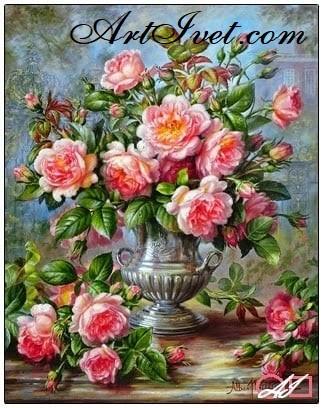 Goblen  de  diamante Trandafiri englezesti: Dimensiuni si tip - 40x30 cm Margele Patrate