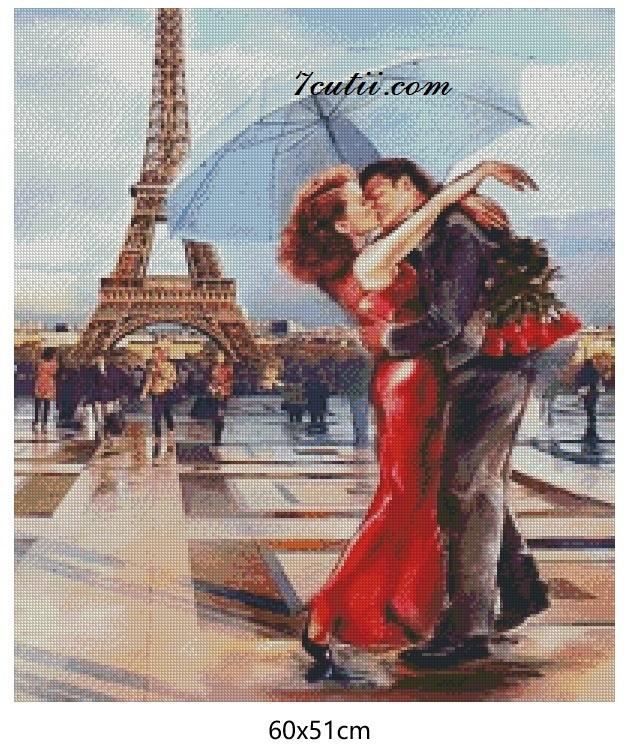 Goblen  de  diamante Dragoste in Paris: Dimensiuni si tip - 35x30 cm Margele Patrate