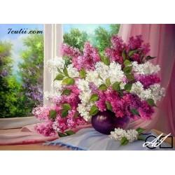 Goblen de diamante Buchet de flori de liliac langa fereastra