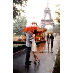 Pictura pe numere - Intalnire langa Turnul Eiffel