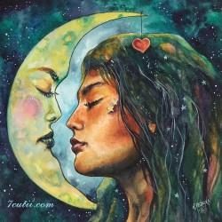 Pictura pe numere - Luna si fata lunii