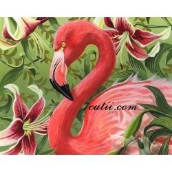 Pictura pe numere - Flamingo roz si flori exotice