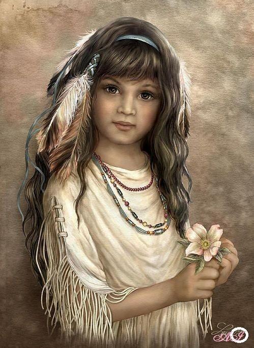 Goblen de diamante - O mica amerindiana Cherokee: Dimensiuni si tip - 40x30 cm Margele Patrate