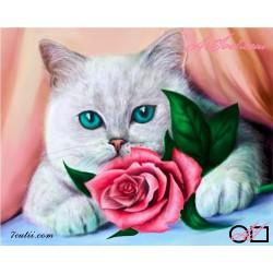 Goblen de diamante Pisicuta cu ochi albastri