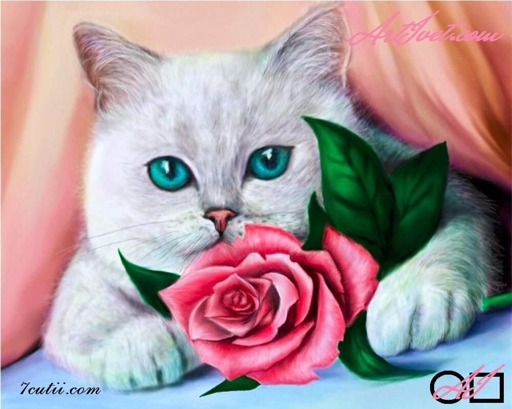 Goblen  de  diamante Pisicuta cu ochi albastri: Dimensiuni si tip - 30x24 cm Margele Rotunde (Circulare)