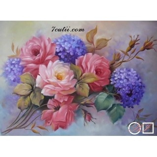 Goblen de diamante Buchet de flori si urari de noroc