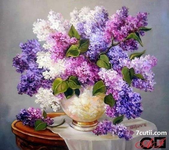 Goblen de diamante - Flori de Liliac: Dimensiuni si tip - 30x30 cm Margele Patrate