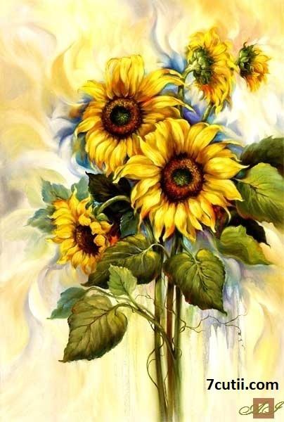 Goblen de diamante - Florea Soarelui: Dimensiuni si tip - 30x20 cm Margele Patrate