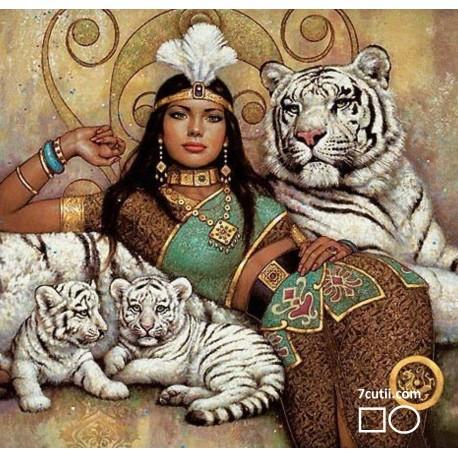Goblen de diamante - Dresoarea tigrilor albi