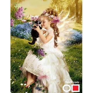 Goblen de diamante - Fetita cu o Coronita de Flori