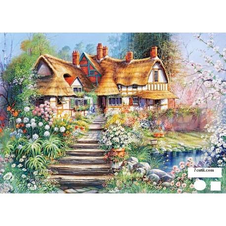 Goblen de diamante - Casa printre flori