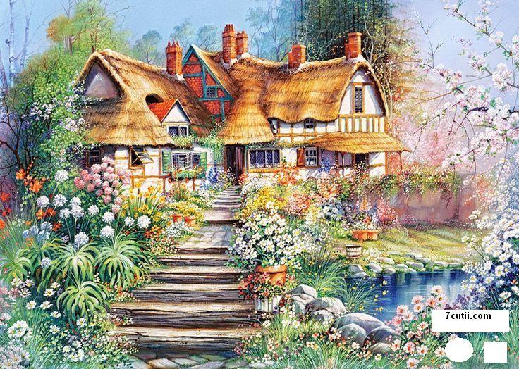 Goblen de diamante - Casa printre flori: Dimensiuni si tip - 30x24 cm Margele Patrate