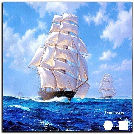 Goblen de diamante - Nava cu panze albi: Dimensiuni si tip - 30x30 cm Margele Patrate
