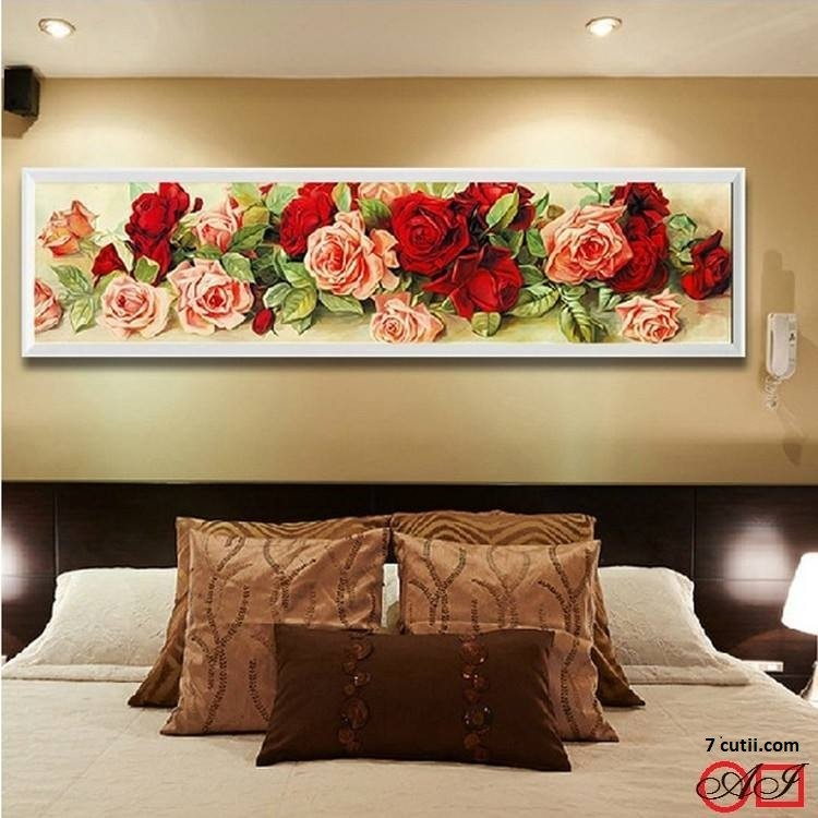 Goblen de diamante - Magie Rosie cu trandafiri: Dimensiuni si tip - 82x20 cm Margele Rotunde