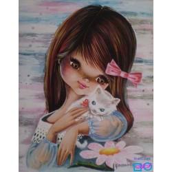 Goblen de diamante -  Fata cu pisica alba