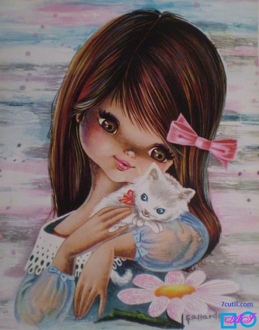 Goblen de diamante -  Fata cu pisica alba: Dimensiuni si tip - 28x22 cm Margele Rotunde