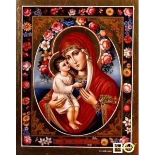 Goblen de diamante - Sf. Maria cu pruncul printre flori