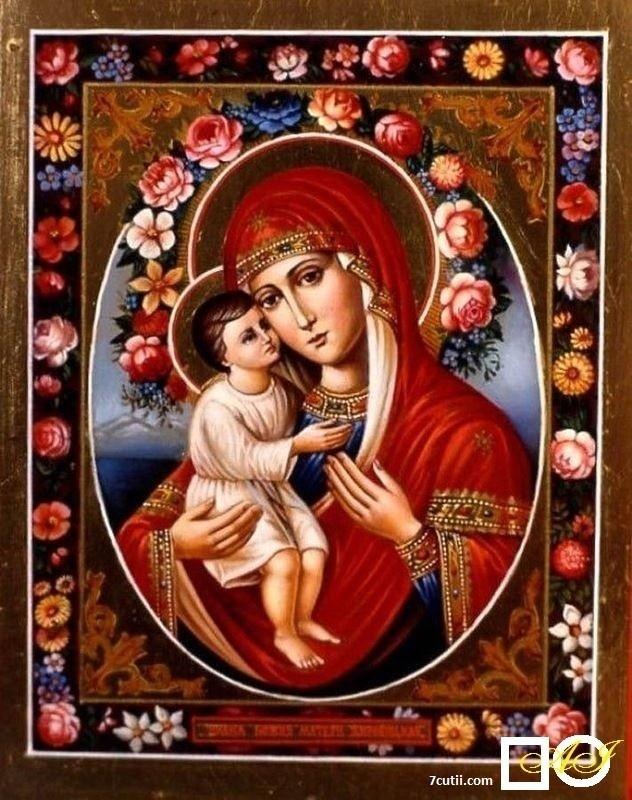 Goblen de diamante - Sf. Maria cu pruncul printre flori: Dimensiuni si tip - 25x20 cm Margele Rotunde (Circulare)