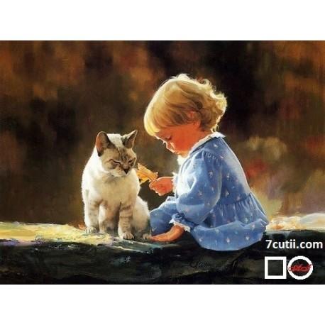 Goblen de diamante - Copilul si pisica