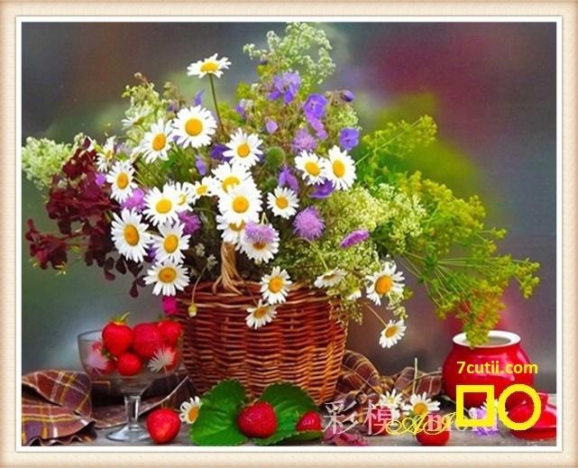 Goblen de diamante -  Flori pentru picnic: Dimensiuni si tip - 40x32 cm Margele Patrate